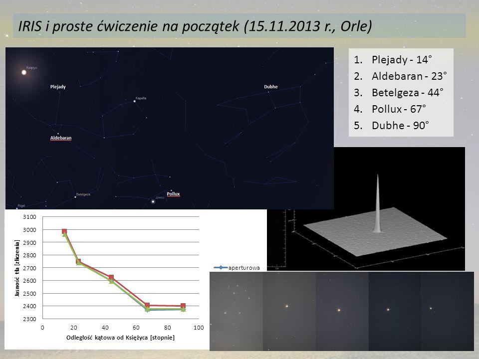 IRIS i proste ćwiczenie na początek (15.11.2013 r., Orle) 1.Plejady - 14° 2.Aldebaran - 23° 3.Betelgeza - 44° 4.Pollux - 67° 5.Dubhe - 90°