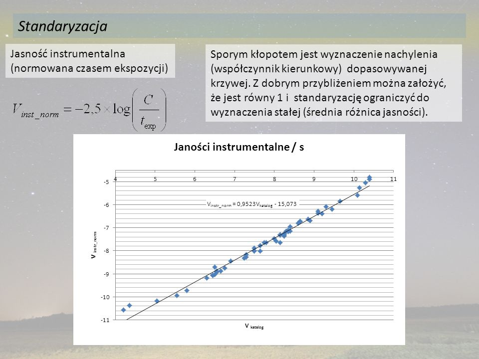 Standaryzacja Jasność instrumentalna (normowana czasem ekspozycji) Sporym kłopotem jest wyznaczenie nachylenia (współczynnik kierunkowy) dopasowywanej krzywej.