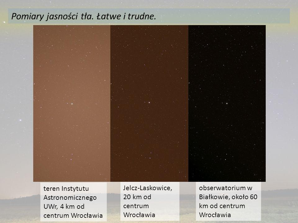 Pomiary jasności tła. Łatwe i trudne. obserwatorium w Białkowie, około 60 km od centrum Wrocławia teren Instytutu Astronomicznego UWr, 4 km od centrum
