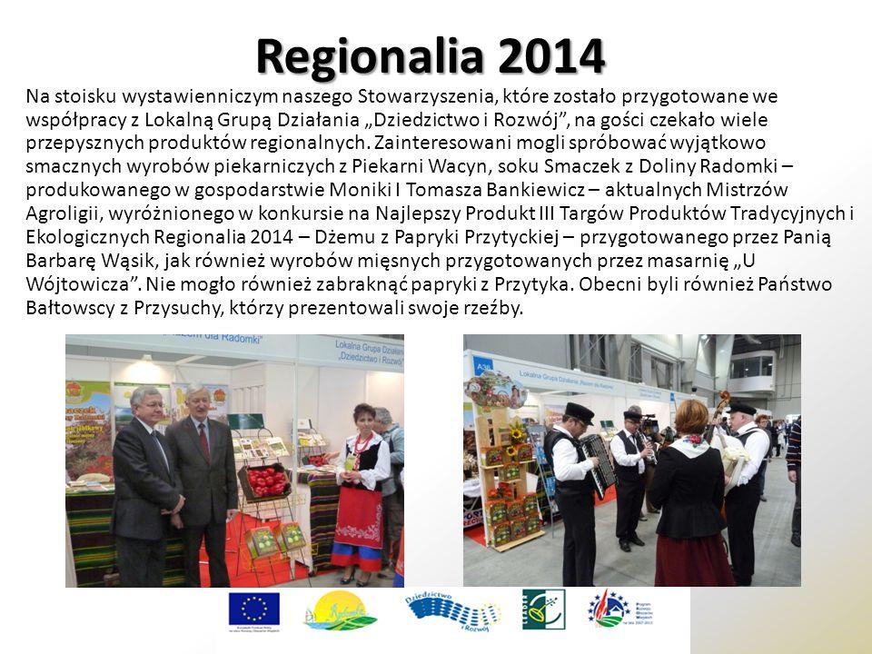 """Regionalia 2014 Na stoisku wystawienniczym naszego Stowarzyszenia, które zostało przygotowane we współpracy z Lokalną Grupą Działania """"Dziedzictwo i Rozwój , na gości czekało wiele przepysznych produktów regionalnych."""