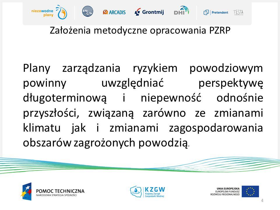 Założenia metodyczne opracowania PZRP 4 Plany zarządzania ryzykiem powodziowym powinny uwzględniać perspektywę długoterminową i niepewność odnośnie pr