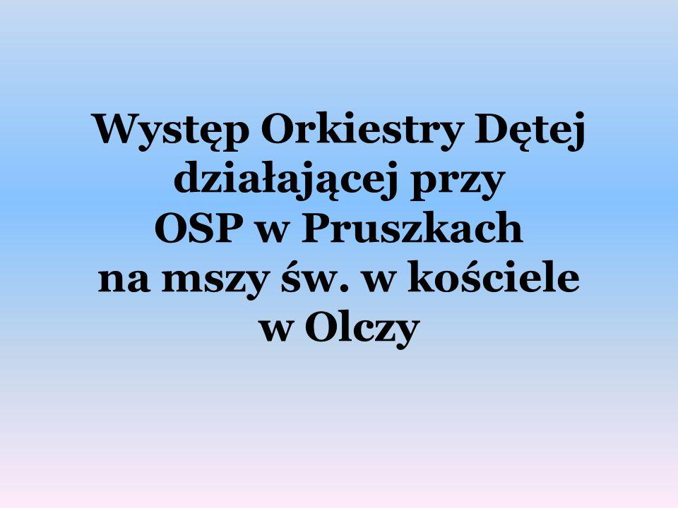 Występ Orkiestry Dętej działającej przy OSP w Pruszkach na mszy św. w kościele w Olczy