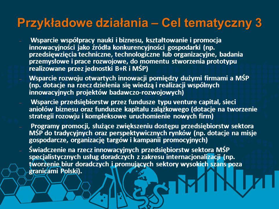 – Wsparcie współpracy nauki i biznesu, kształtowanie i promocja innowacyjności jako źródła konkurencyjności gospodarki (np. przedsięwzięcia techniczne