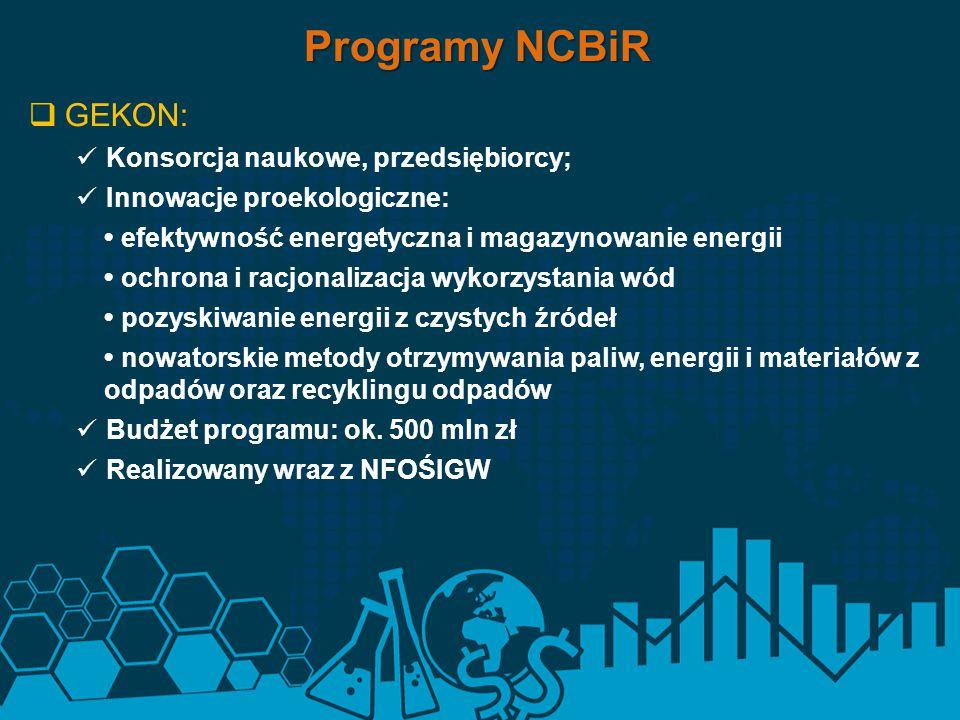  GEKON: Konsorcja naukowe, przedsiębiorcy; Innowacje proekologiczne: efektywność energetyczna i magazynowanie energii ochrona i racjonalizacja wykorz
