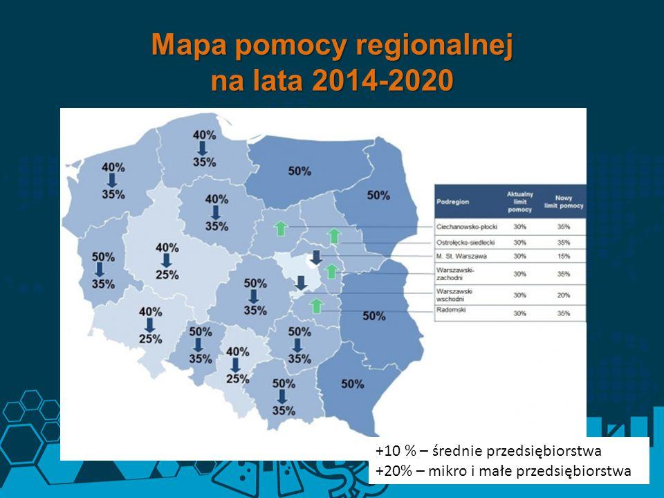 Mapa pomocy regionalnej na lata 2014-2020 +10 % – średnie przedsiębiorstwa +20% – mikro i małe przedsiębiorstwa