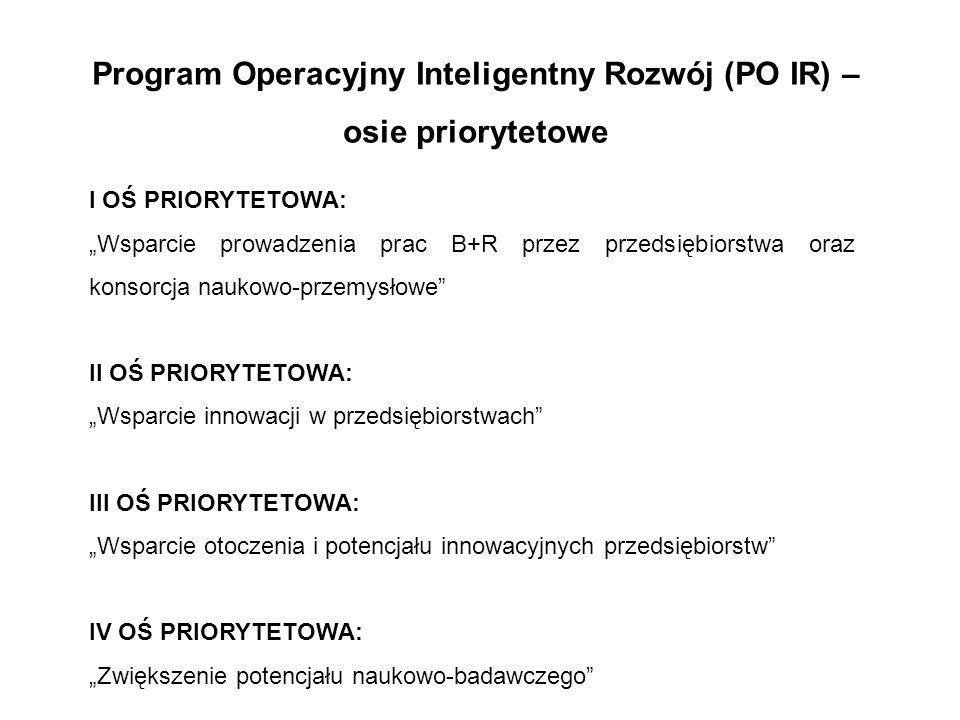 """Program Operacyjny Inteligentny Rozwój (PO IR) – osie priorytetowe I OŚ PRIORYTETOWA: """"Wsparcie prowadzenia prac B+R przez przedsiębiorstwa oraz konso"""