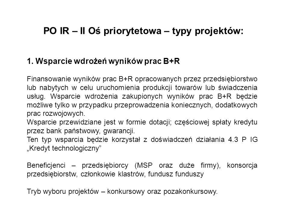 PO IR – II Oś priorytetowa – typy projektów: 1. Wsparcie wdrożeń wyników prac B+R Finansowanie wyników prac B+R opracowanych przez przedsiębiorstwo lu