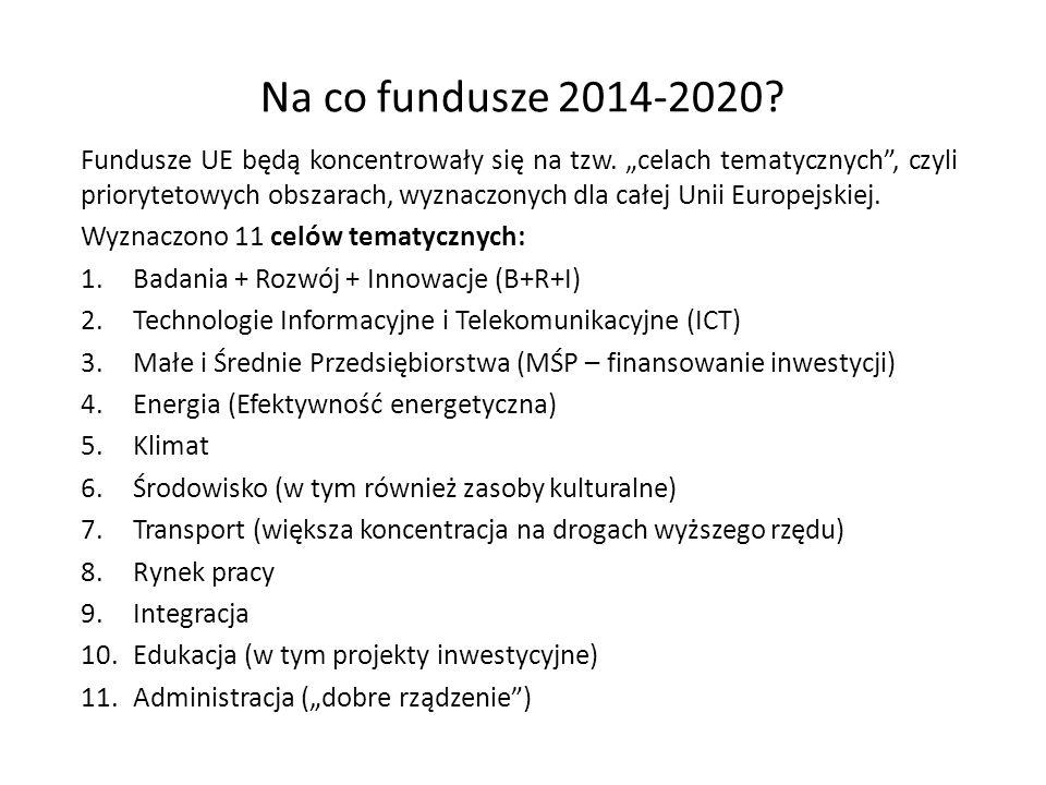 """Na co fundusze 2014-2020? Fundusze UE będą koncentrowały się na tzw. """"celach tematycznych"""", czyli priorytetowych obszarach, wyznaczonych dla całej Uni"""