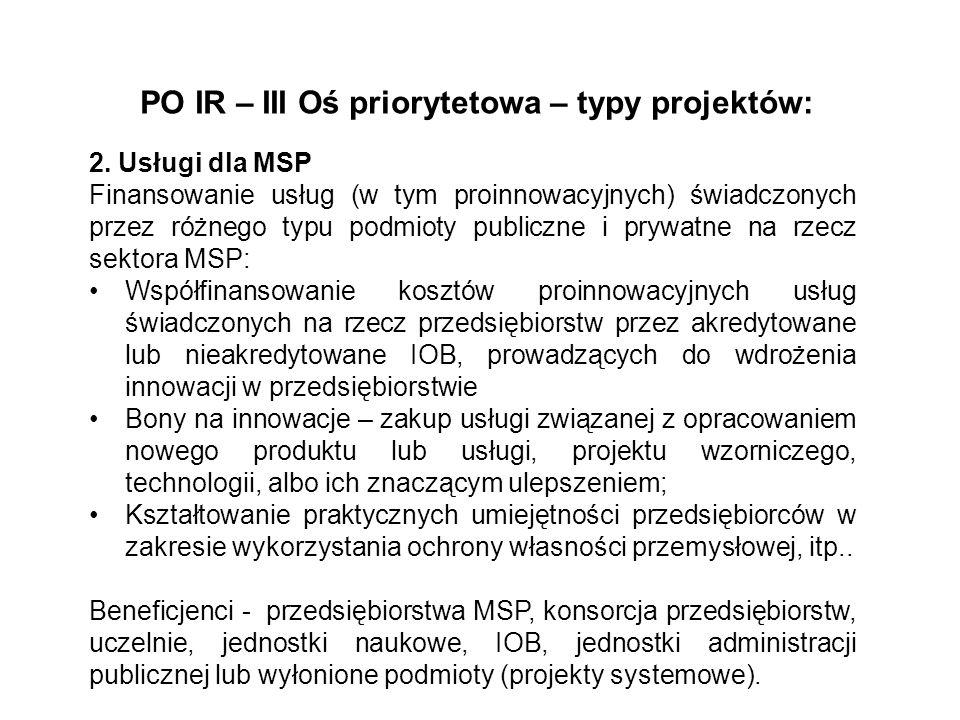 PO IR – III Oś priorytetowa – typy projektów: 2. Usługi dla MSP Finansowanie usług (w tym proinnowacyjnych) świadczonych przez różnego typu podmioty p