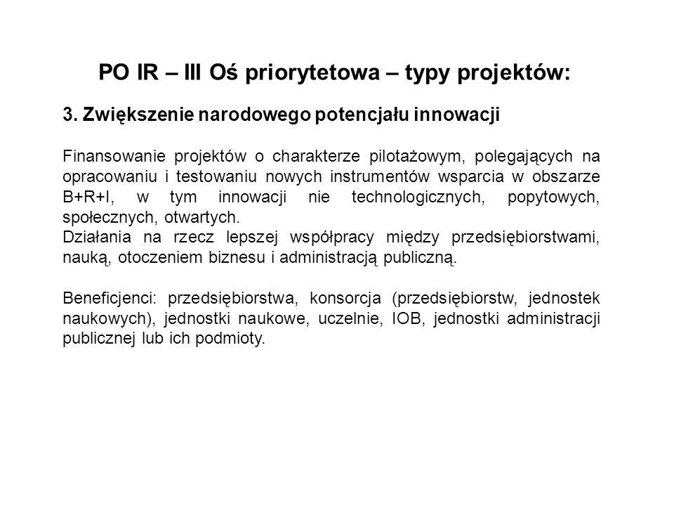 PO IR – III Oś priorytetowa – typy projektów: 3. Zwiększenie narodowego potencjału innowacji Finansowanie projektów o charakterze pilotażowym, polegaj