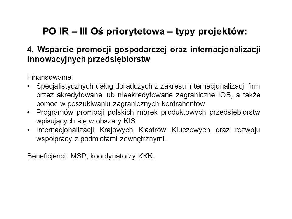 PO IR – III Oś priorytetowa – typy projektów: 4. Wsparcie promocji gospodarczej oraz internacjonalizacji innowacyjnych przedsiębiorstw Finansowanie: S