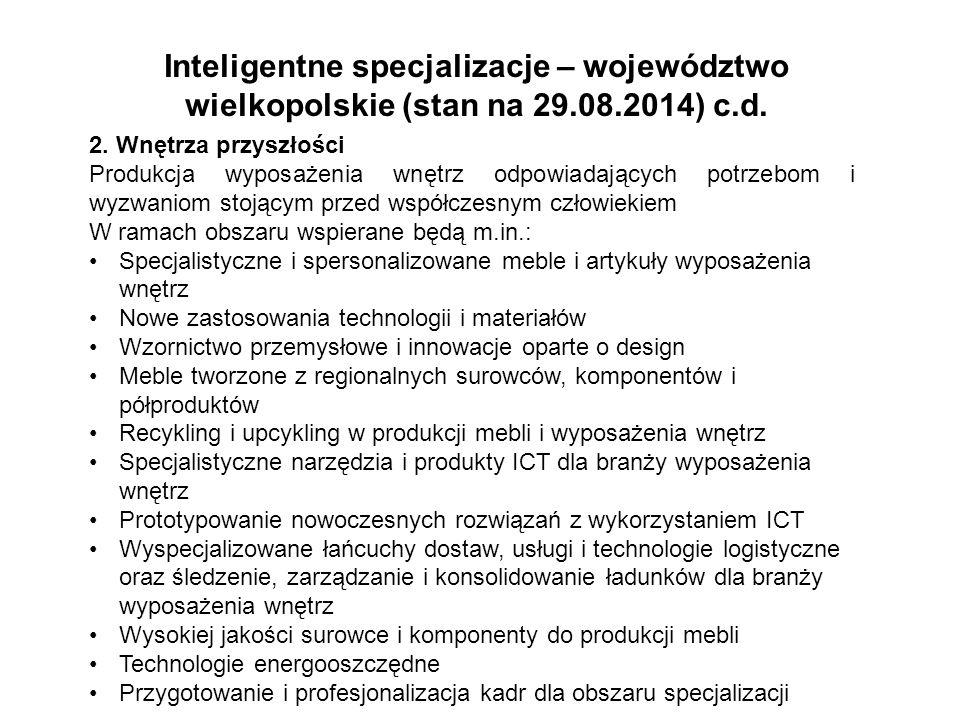 Inteligentne specjalizacje – województwo wielkopolskie (stan na 29.08.2014) c.d. 2. Wnętrza przyszłości Produkcja wyposażenia wnętrz odpowiadających p