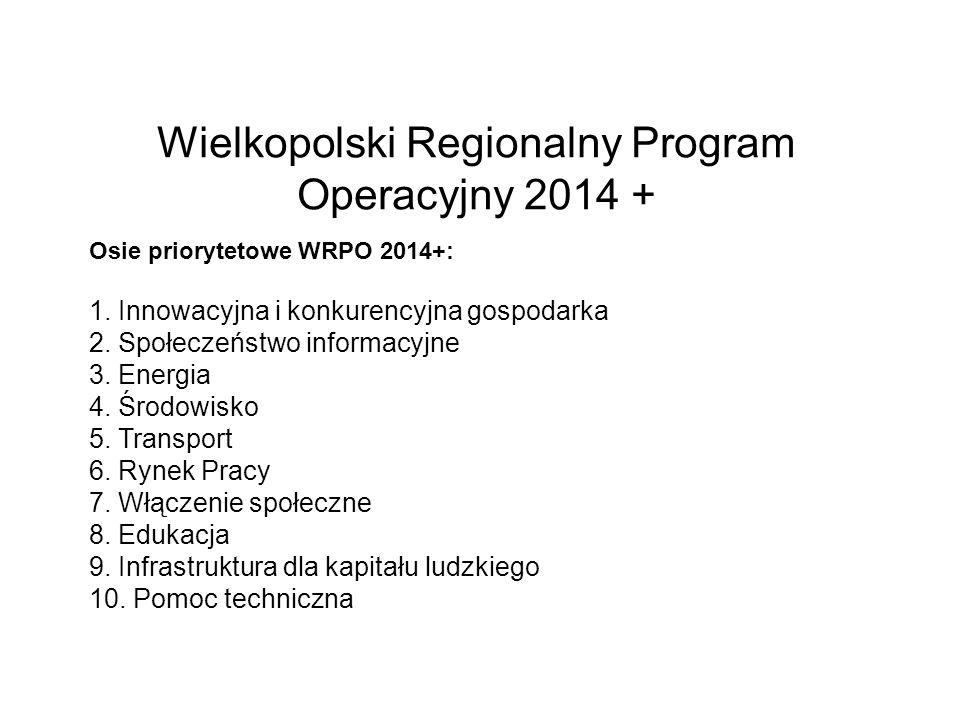 Wielkopolski Regionalny Program Operacyjny 2014 + Osie priorytetowe WRPO 2014+: 1. Innowacyjna i konkurencyjna gospodarka 2. Społeczeństwo informacyjn