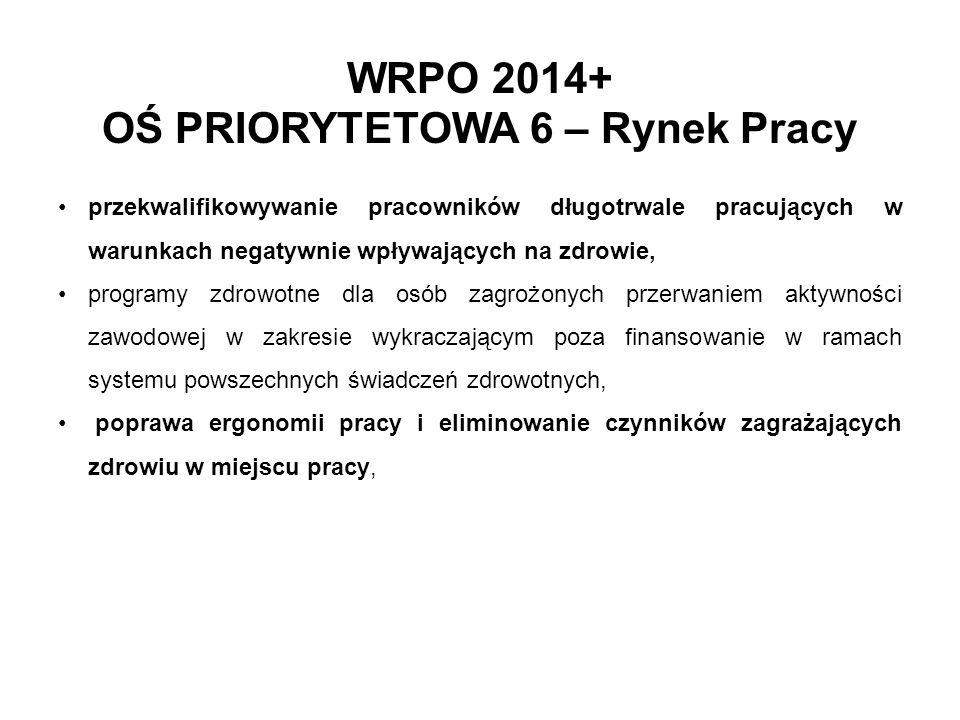 WRPO 2014+ OŚ PRIORYTETOWA 6 – Rynek Pracy przekwalifikowywanie pracowników długotrwale pracujących w warunkach negatywnie wpływających na zdrowie, pr