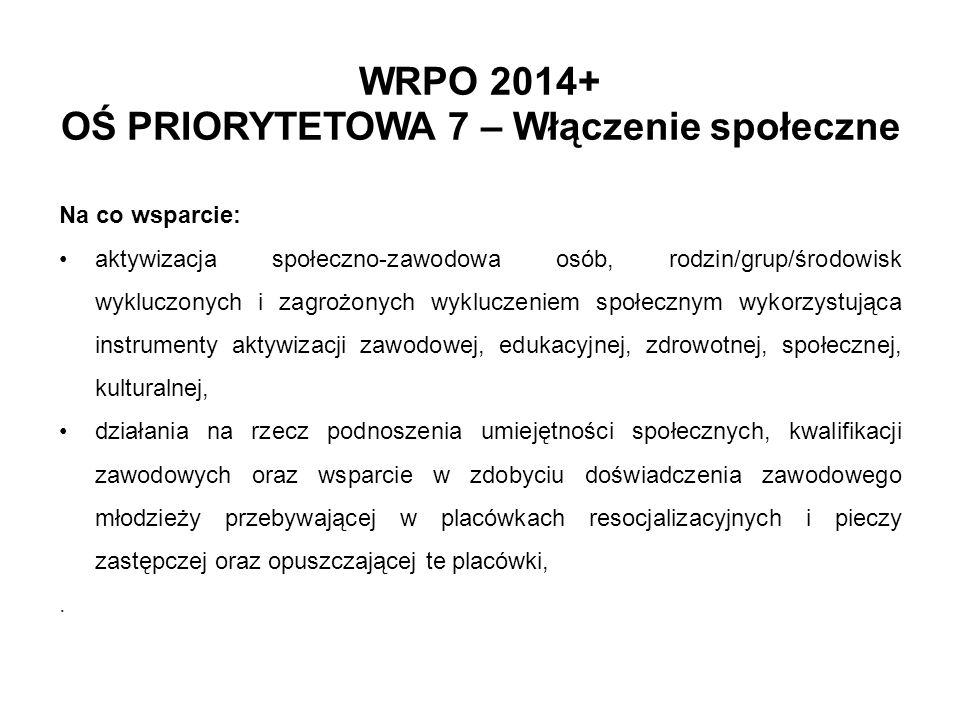 WRPO 2014+ OŚ PRIORYTETOWA 7 – Włączenie społeczne Na co wsparcie: aktywizacja społeczno-zawodowa osób, rodzin/grup/środowisk wykluczonych i zagrożony