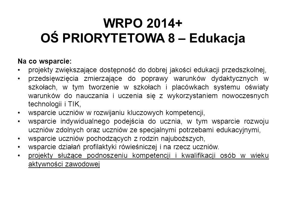 WRPO 2014+ OŚ PRIORYTETOWA 8 – Edukacja Na co wsparcie: projekty zwiększające dostępność do dobrej jakości edukacji przedszkolnej, przedsięwzięcia zmi