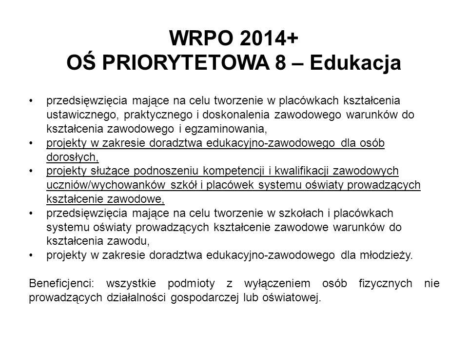 WRPO 2014+ OŚ PRIORYTETOWA 8 – Edukacja przedsięwzięcia mające na celu tworzenie w placówkach kształcenia ustawicznego, praktycznego i doskonalenia za