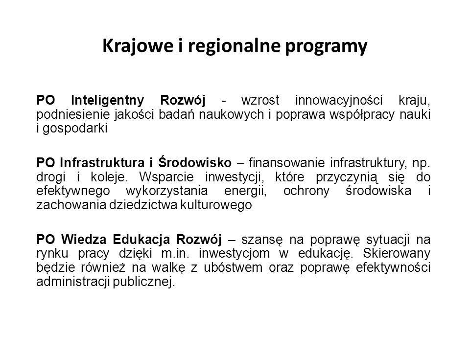 Krajowe i regionalne programy PO Inteligentny Rozwój - wzrost innowacyjności kraju, podniesienie jakości badań naukowych i poprawa współpracy nauki i