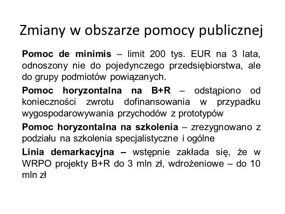 Zmiany w obszarze pomocy publicznej Pomoc de minimis – limit 200 tys. EUR na 3 lata, odnoszony nie do pojedynczego przedsiębiorstwa, ale do grupy podm