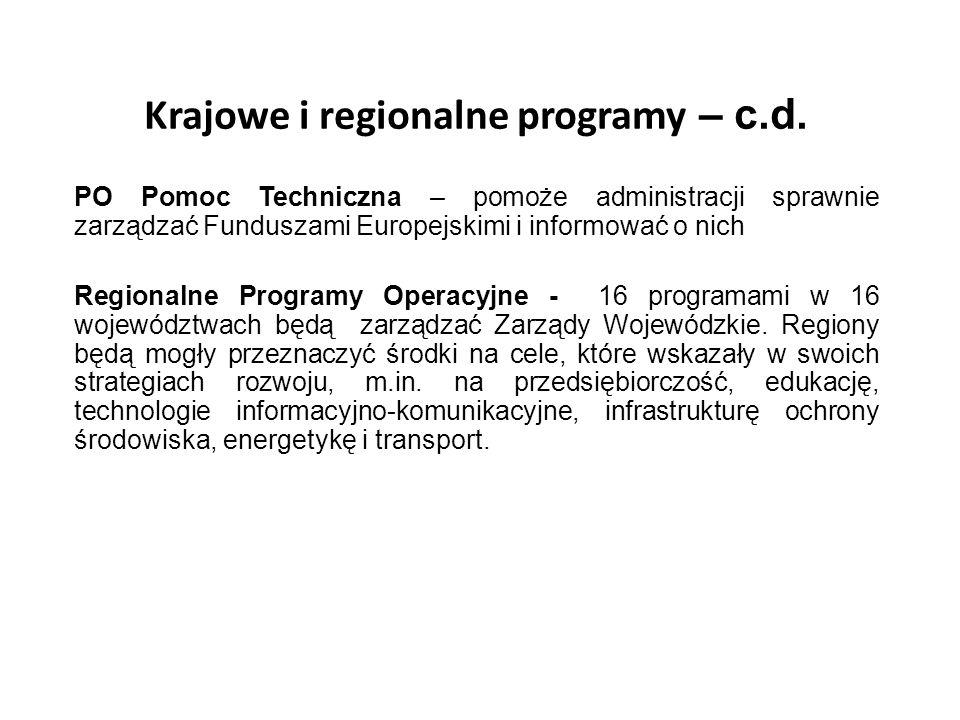 Krajowe i regionalne programy – c.d. PO Pomoc Techniczna – pomoże administracji sprawnie zarządzać Funduszami Europejskimi i informować o nich Regiona