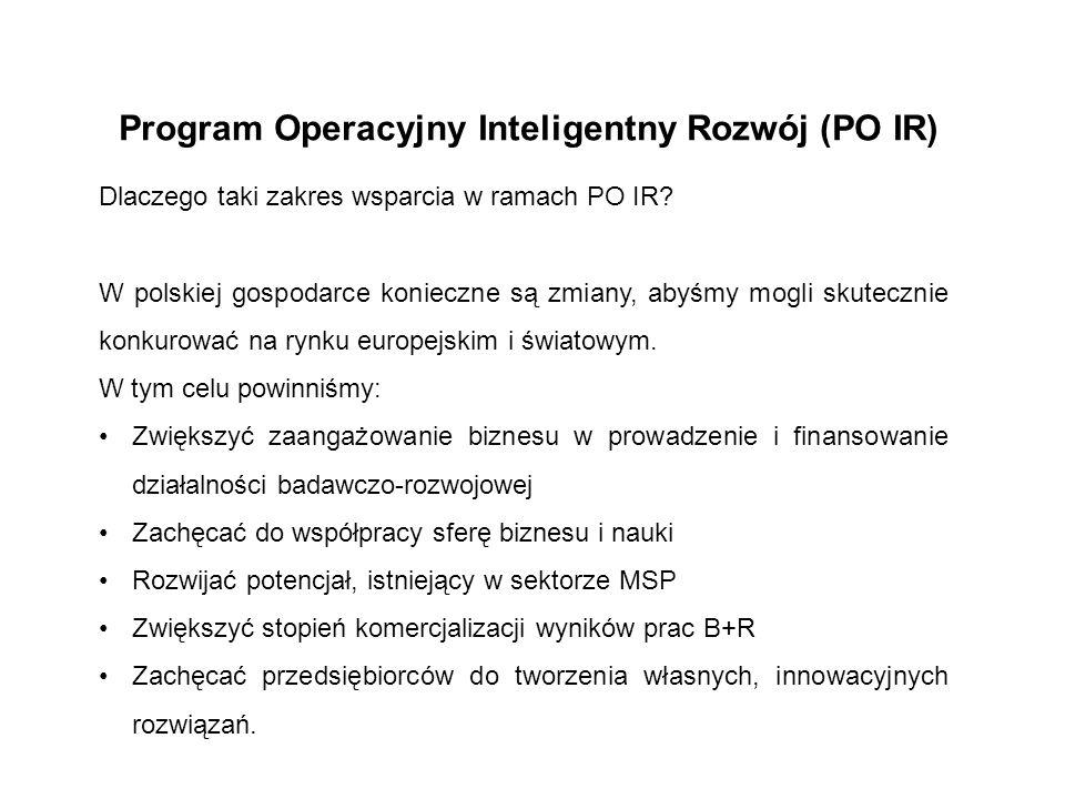 Program Operacyjny Inteligentny Rozwój (PO IR) Dlaczego taki zakres wsparcia w ramach PO IR? W polskiej gospodarce konieczne są zmiany, abyśmy mogli s