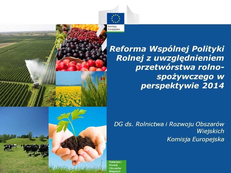 Rolnictwo i Rozwój Obszarów Wiejskich Reforma Wspólnej Polityki Rolnej z uwzględnieniem przetwórstwa rolno- spożywczego w perspektywie 2014 DG ds.
