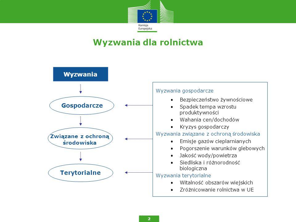 Wyzwania dla rolnictwa 2 Wyzwania gospodarcze Bezpieczeństwo żywnościowe Spadek tempa wzrostu produktywności Wahania cen/dochodów Kryzys gospodarczy Wyzwania związane z ochroną środowiska Emisje gazów cieplarnianych Pogorszenie warunków glebowych Jakość wody/powietrza Siedliska i różnorodność biologiczna Wyzwania terytorialne Witalność obszarów wiejskich Zróżnicowanie rolnictwa w UE Wyzwania Związane z ochroną środowiska Gospodarcze Terytorialne
