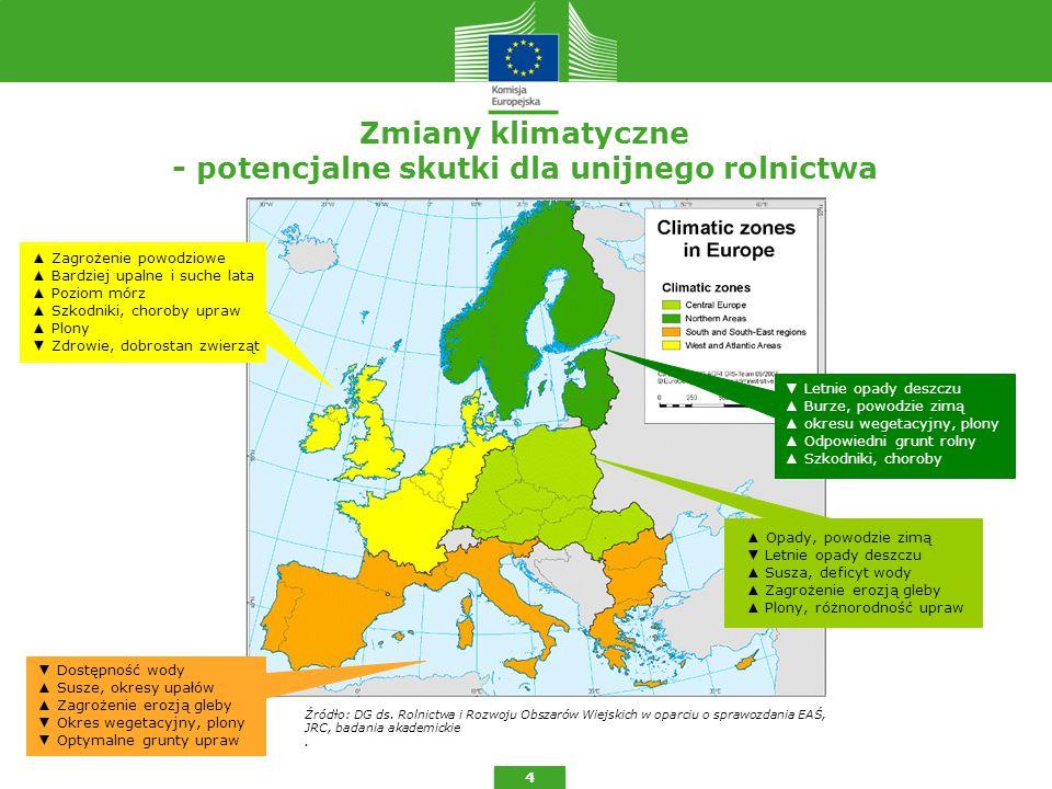 Zmiany klimatyczne - potencjalne skutki dla unijnego rolnictwa 4 Źródło: DG ds.