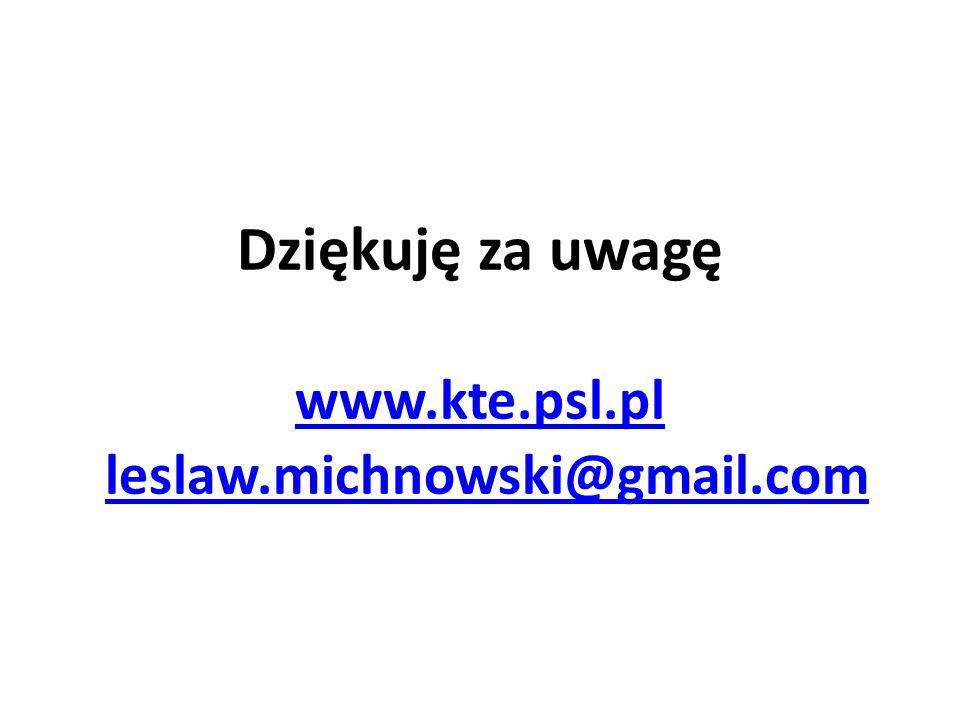 Dziękuję za uwagę www.kte.psl.pl leslaw.michnowski@gmail.com www.kte.psl.plleslaw.michnowski@gmail.com