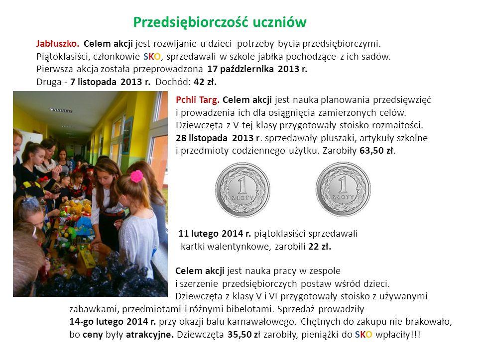 Przedsiębiorczość uczniów Jabłuszko. Celem akcji jest rozwijanie u dzieci potrzeby bycia przedsiębiorczymi. Piątoklasiści, członkowie SKO, sprzedawali