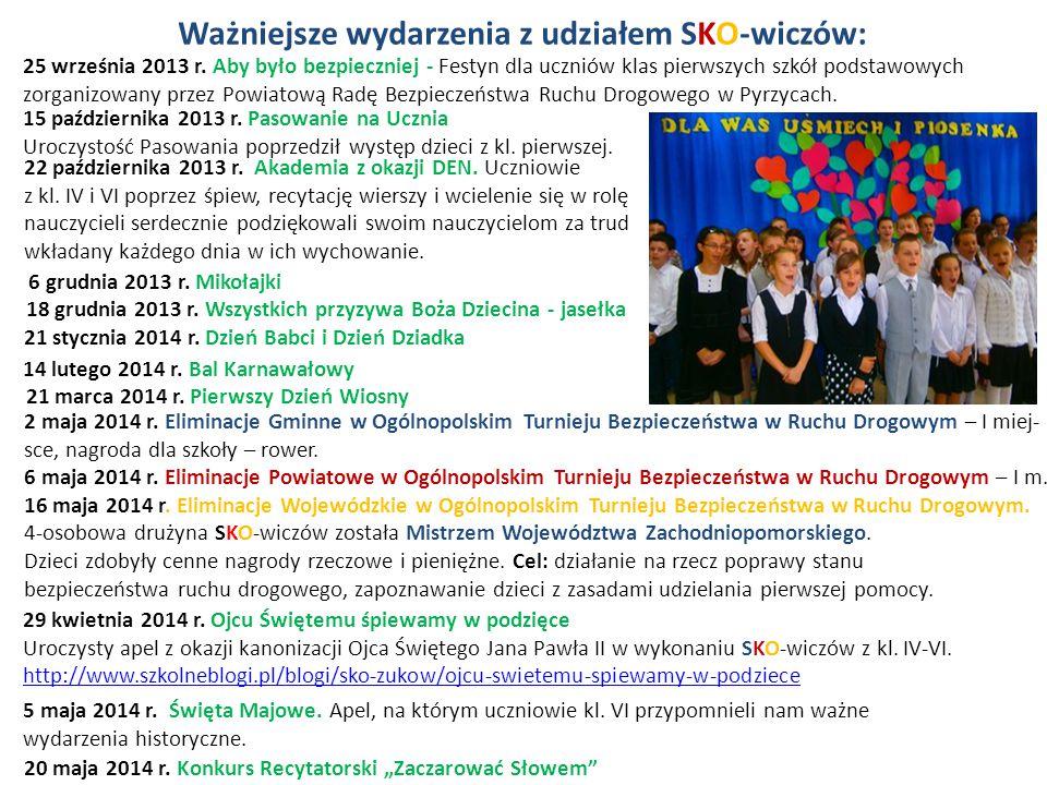 18 grudnia 2013 r. Wszystkich przyzywa Boża Dziecina - jasełka 22 października 2013 r. Akademia z okazji DEN. Uczniowie z kl. IV i VI poprzez śpiew, r