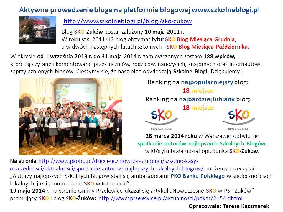 Aktywne prowadzenie bloga na platformie blogowej www.szkolneblogi.pl 28 marca 2014 roku w Warszawie odbyło się spotkanie autorów najlepszych Szkolnych
