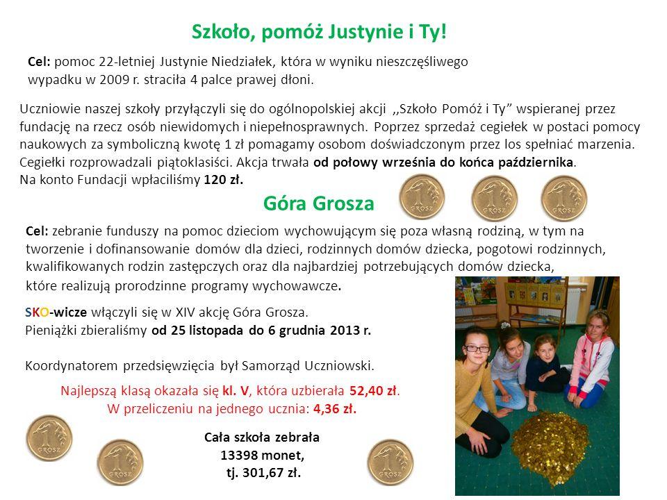 """Szkoło, pomóż Justynie i Ty! Uczniowie naszej szkoły przyłączyli się do ogólnopolskiej akcji,,Szkoło Pomóż i Ty"""" wspieranej przez fundację na rzecz os"""