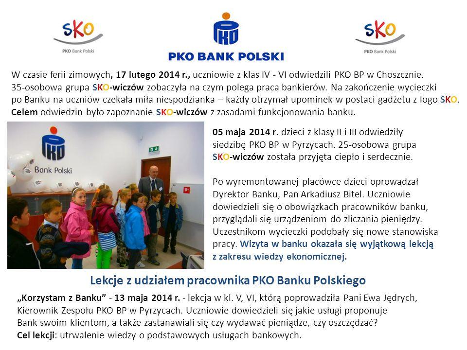 05 maja 2014 r. dzieci z klasy II i III odwiedziły siedzibę PKO BP w Pyrzycach. 25-osobowa grupa SKO-wiczów została przyjęta ciepło i serdecznie. Po w