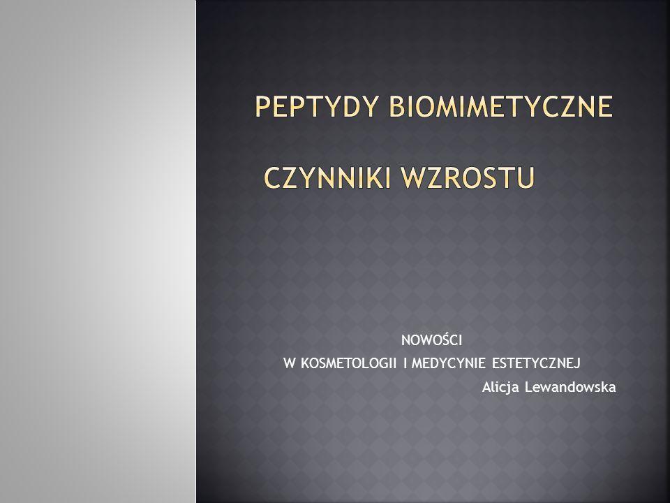 PEPTYDY BIOMIMETYCZNE I CZYNNIKI WZROSTU Syntetyczne modulatory wpływające na przyspieszenie i poprawę mechanizmów naprawczych zachodzących bezpośrednio w komórkach skóry Podstawowym elementem składowym są aminokwasy