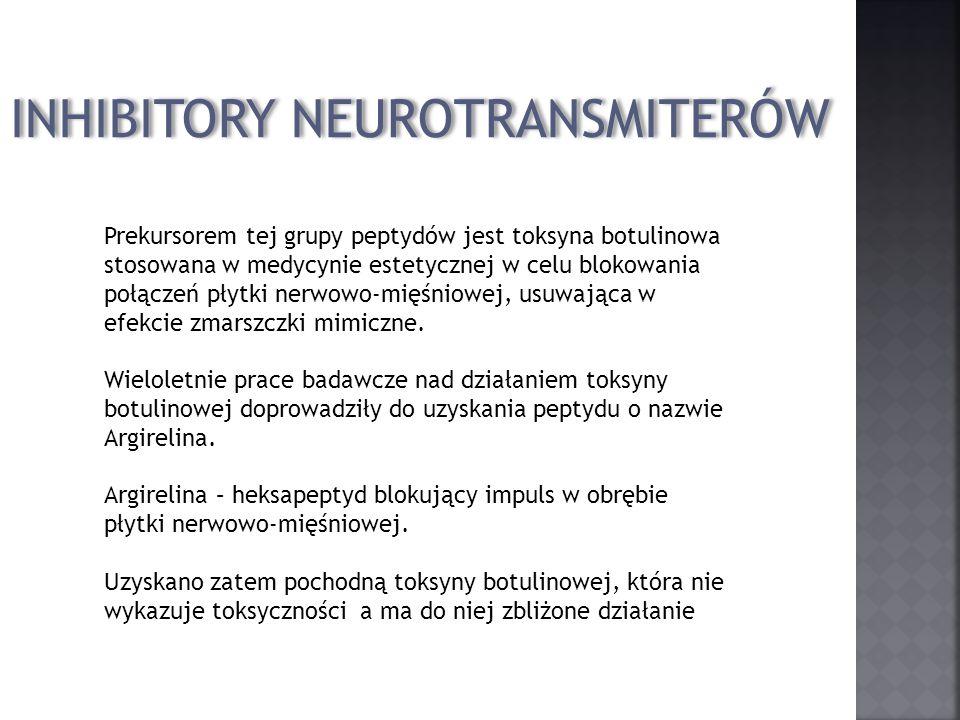 INHIBITORY NEUROTRANSMITERÓW Prekursorem tej grupy peptydów jest toksyna botulinowa stosowana w medycynie estetycznej w celu blokowania połączeń płytk