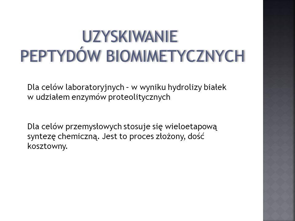UZYSKIWANIE PEPTYDÓW BIOMIMETYCZNYCH UZYSKIWANIE PEPTYDÓW BIOMIMETYCZNYCH Dla celów laboratoryjnych – w wyniku hydrolizy białek w udziałem enzymów pro