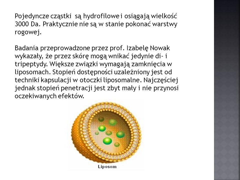 Pojedyncze cząstki są hydrofilowe i osiągają wielkość 3000 Da. Praktycznie nie są w stanie pokonać warstwy rogowej. Badania przeprowadzone przez prof.