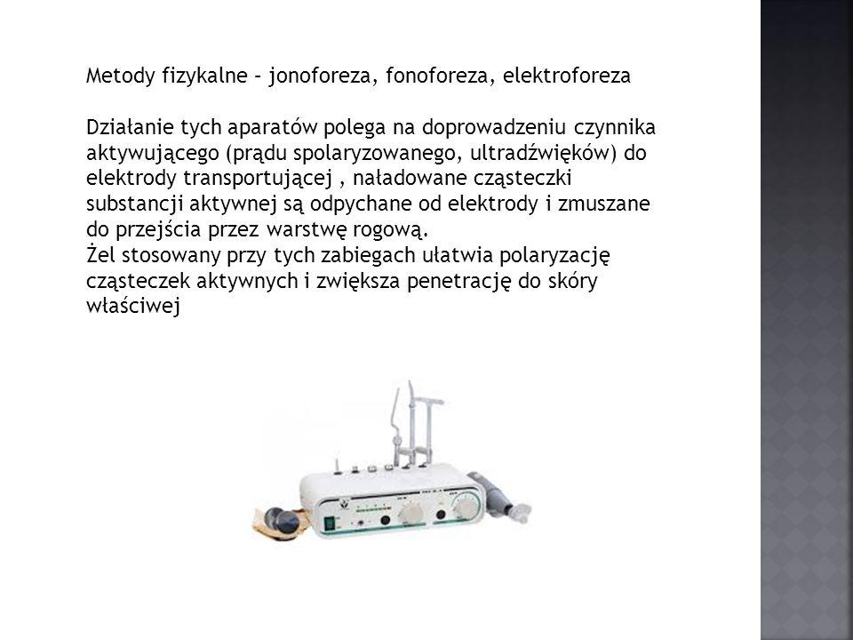 Metody fizykalne – jonoforeza, fonoforeza, elektroforeza Działanie tych aparatów polega na doprowadzeniu czynnika aktywującego (prądu spolaryzowanego,