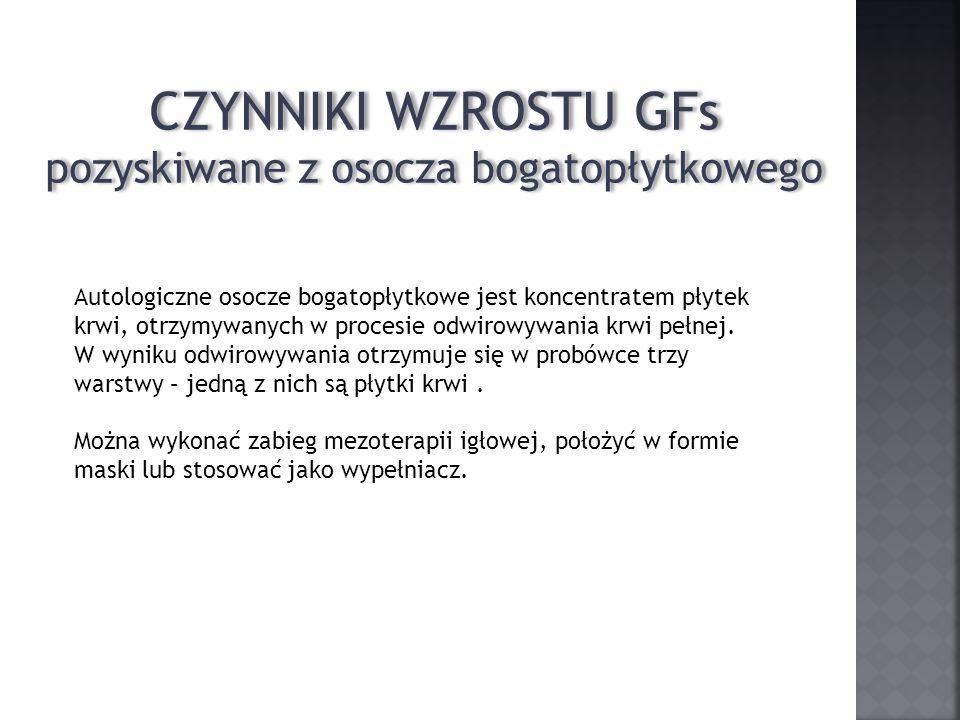 CZYNNIKI WZROSTU GFs pozyskiwane z osocza bogatopłytkowego CZYNNIKI WZROSTU GFs pozyskiwane z osocza bogatopłytkowego Autologiczne osocze bogatopłytko