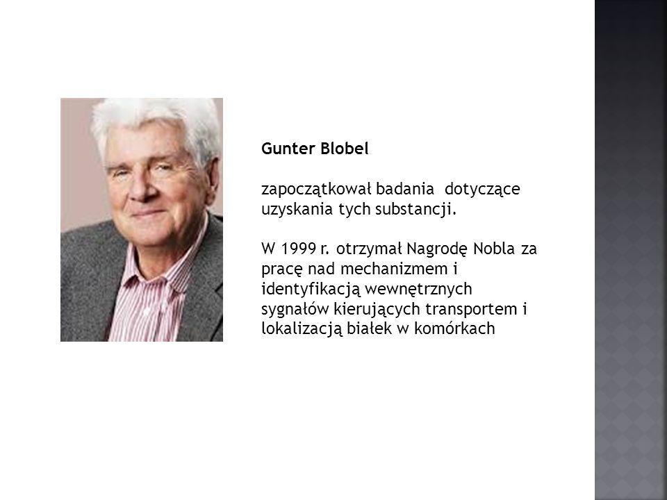 Gunter Blobel zapoczątkował badania dotyczące uzyskania tych substancji. W 1999 r. otrzymał Nagrodę Nobla za pracę nad mechanizmem i identyfikacją wew