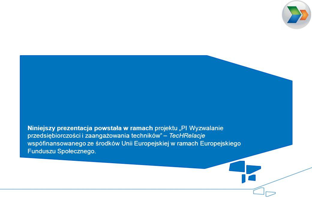 """Niniejszy prezentacja powstała w ramach projektu """"PI Wyzwalanie przedsiębiorczości i zaangażowania techników – TecHRelacje wspófinansowanego ze środków Unii Europejskiej w ramach Europejskiego Funduszu Społecznego."""