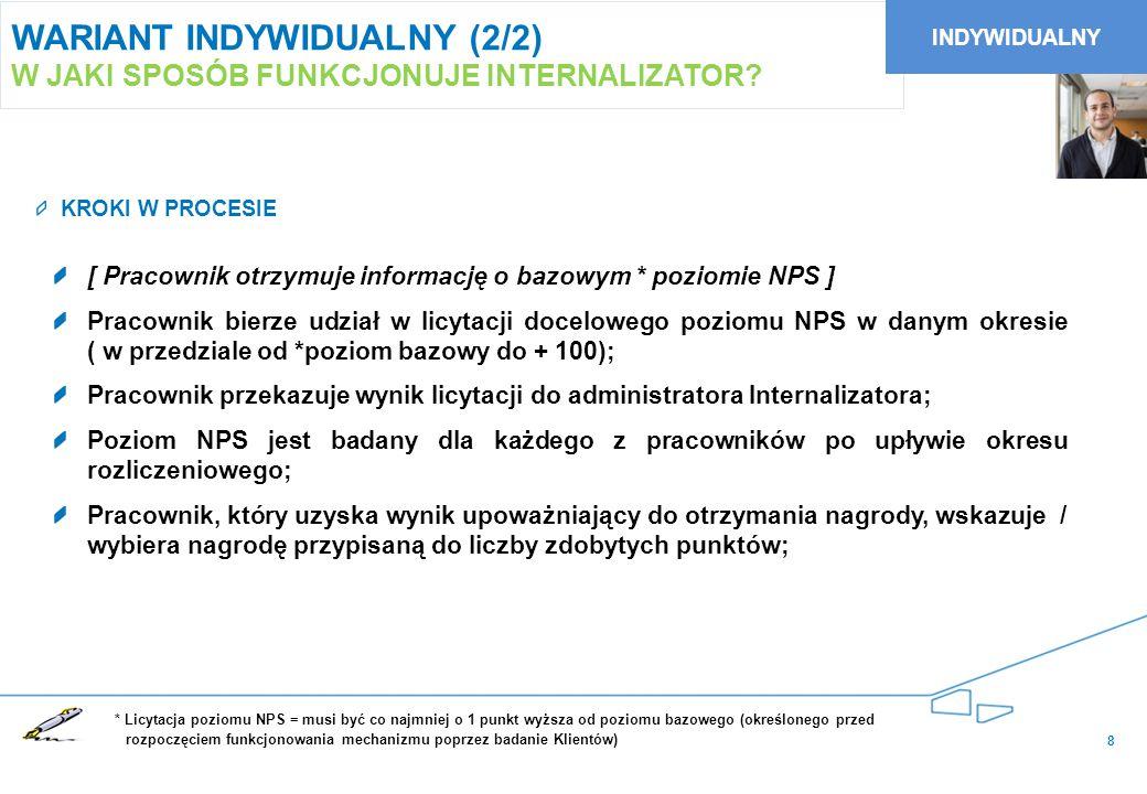 9 WARIANT ZESPOŁOWY (1/2) W JAKI SPOSÓB FUNKCJONUJE INTERNALIZATOR Wyznaczenie poziomu bazowego NPS Administrator Wyznaczenie poziomu bazowego NPS Administrator Zgłoszenie zespołowego poziomu NPS* Szef Zespołu Zgłoszenie zespołowego poziomu NPS* Szef Zespołu Zebranie deklaracji zespołowych Administrator Zebranie deklaracji zespołowych Administrator Podejmowanie działań realizujących cel NPS Członkowie Zespołu Podejmowanie działań realizujących cel NPS Członkowie Zespołu Przeprowadzenie badania poziomu NPS Administrator Przeprowadzenie badania poziomu NPS Administrator Obliczenie wyników konkursu i ogłoszenie Administrator Obliczenie wyników konkursu i ogłoszenie Administrator Przyznanie nagród Administrator/ dział kadr i płac Przyznanie nagród Administrator/ dział kadr i płac Zgłoszenie zespołowego poziomu NPS Szef Zespołu Zgłoszenie zespołowego poziomu NPS Szef Zespołu Kolejne kroki...