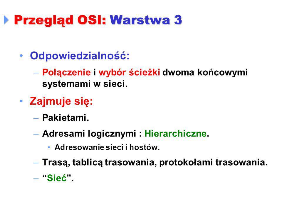  Przegląd OSI: Warstwa 3 Odpowiedzialność: –Połączenie i wybór ścieżki dwoma końcowymi systemami w sieci. Zajmuje się: –Pakietami. –Adresami logiczny