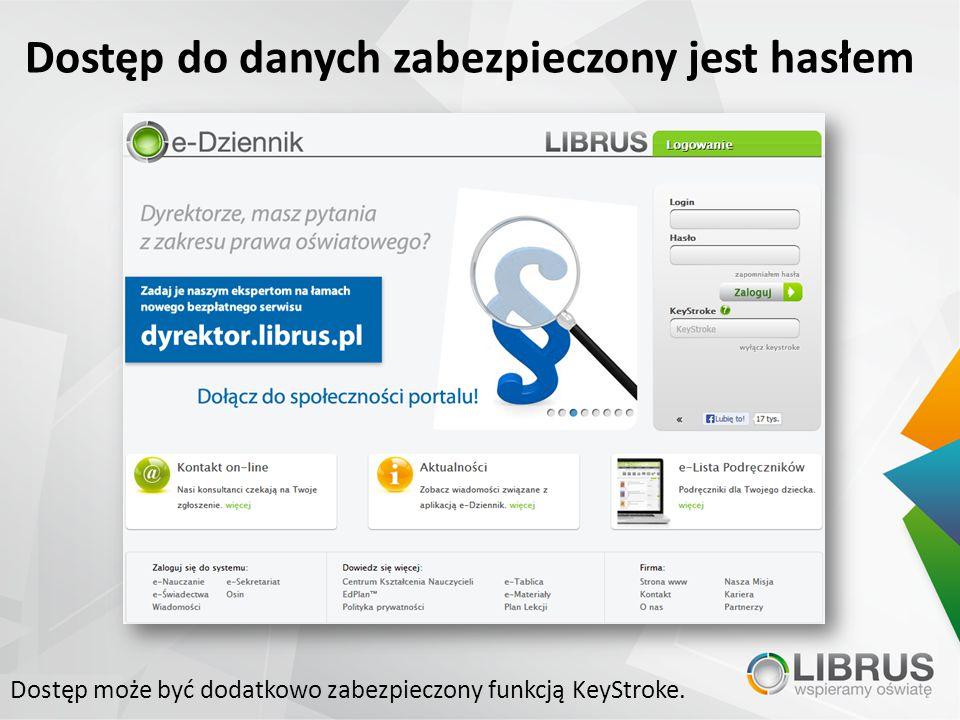 Dostęp może być dodatkowo zabezpieczony funkcją KeyStroke.