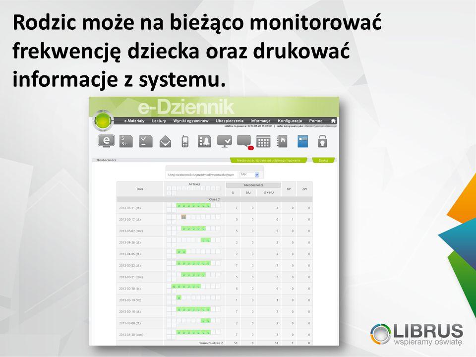 Rodzic może na bieżąco monitorować frekwencję dziecka oraz drukować informacje z systemu.