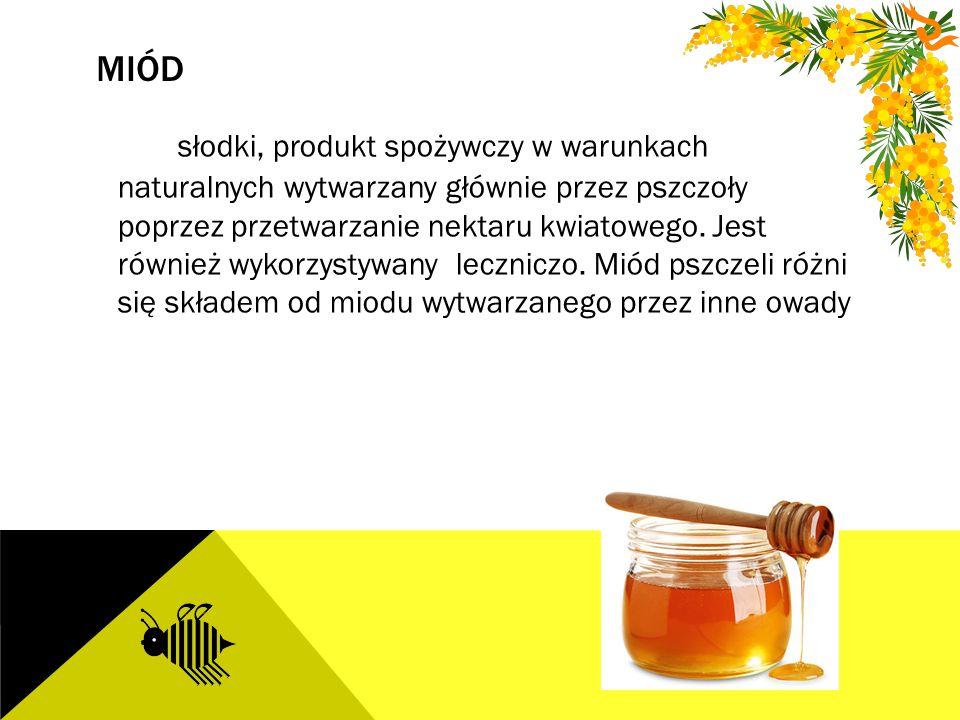 MIÓD słodki, produkt spożywczy w warunkach naturalnych wytwarzany głównie przez pszczoły poprzez przetwarzanie nektaru kwiatowego. Jest również wykorz