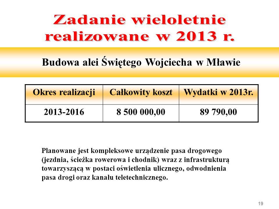19 Budowa alei Świętego Wojciecha w Mławie Planowane jest kompleksowe urządzenie pasa drogowego (jezdnia, ścieżka rowerowa i chodnik) wraz z infrastrukturą towarzyszącą w postaci oświetlenia ulicznego, odwodnienia pasa drogi oraz kanału teletechnicznego.