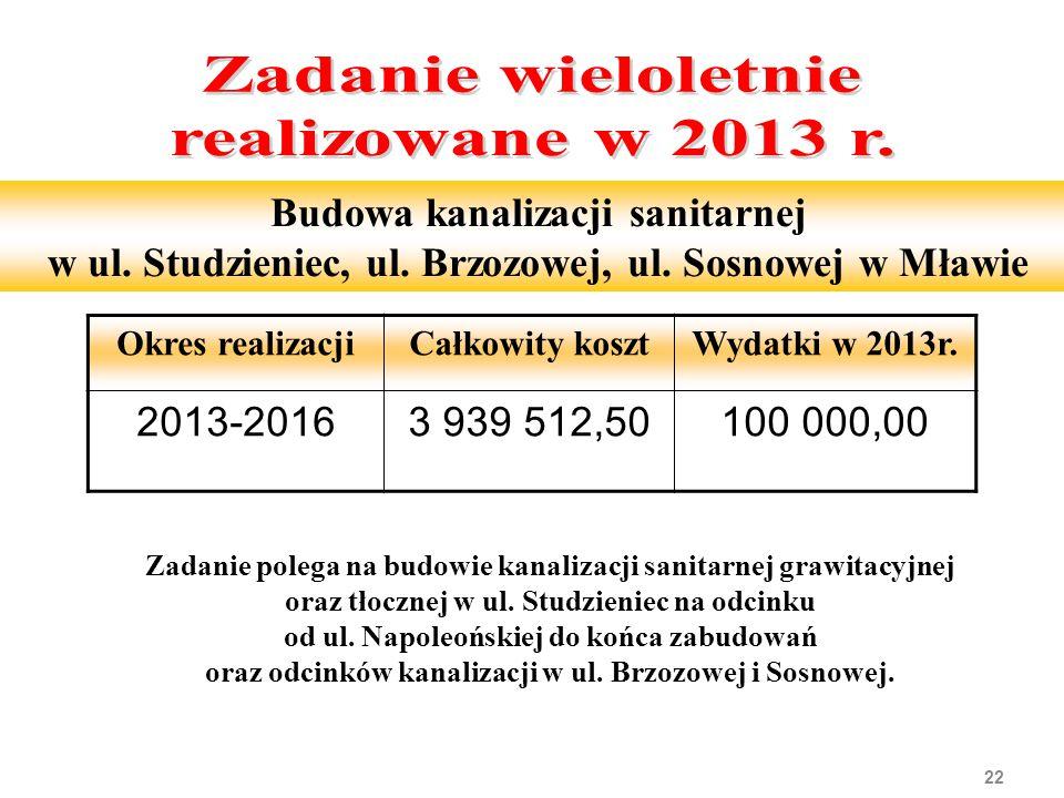 22 Budowa kanalizacji sanitarnej w ul. Studzieniec, ul. Brzozowej, ul. Sosnowej w Mławie Zadanie polega na budowie kanalizacji sanitarnej grawitacyjne