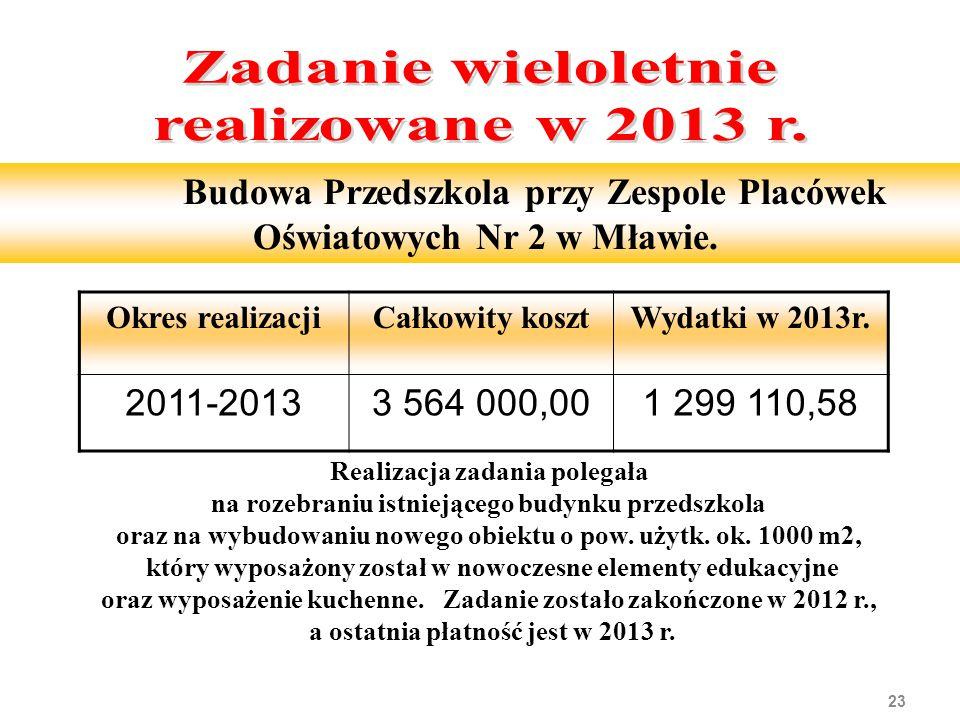 23 Budowa Przedszkola przy Zespole Placówek Oświatowych Nr 2 w Mławie.